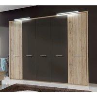 Product photograph showing Wiemann Portland 5 Door Wardrobe In Oak And Havana - W 250cm