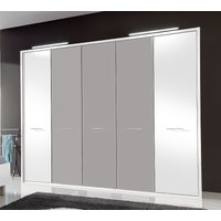 Product photograph showing Wiemann Portland 5 Door Wardrobe In White And Pebble Grey - W 250cm