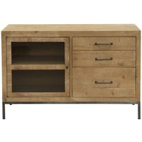 Product photograph showing Willis And Gambier Forte Pine 1 Door 3 Drawer Narrow Sideboard