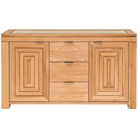 Product photograph showing Willis And Gambier New Maze Oak 2 Door 3 Drawer Wide Sideboard