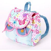 Claire's Club Floral Butterfly Denim Mini Backpack - Pink - Floral Gifts