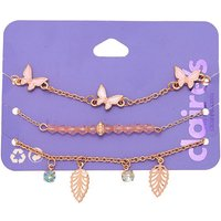 Claire's Rose Gold Butterfly & Leaf Chain Bracelets - 3 Pack - Charm Bracelet Gifts