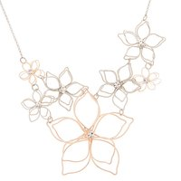 Claire's Mixed Metal Wire Floral Statement Necklace - Fashion Gifts