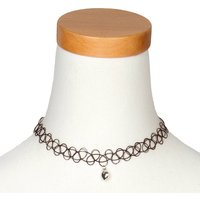 Claire's Silver Heart Charm Tattoo Choker Necklace - Tattoo Gifts