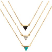 Claire's 3 Pack Gold Tone Marble Triangle Necklaces - Necklaces Gifts