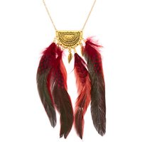 Claire's Gold Polka Dot Feather Long Pendant Necklace - Red - Polka Dot Gifts