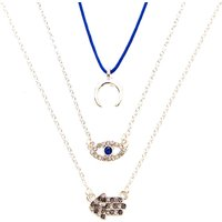 Claire's 3 Pack Moon, Evil Eye, & Hamsa Hand Pendant Necklaces - Necklaces Gifts