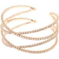 Claire's Rose Gold Rhinestone Double Criss Cross Cuff Bracelet - Fashion Gifts