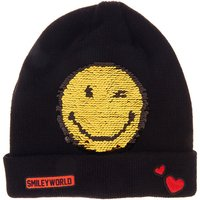 Claire's Black & Gold Sequin Smiley World Beanie Hat - Beanie Gifts
