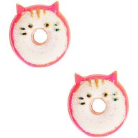 Claire's Glitter Cat Donut Earrings - White - Cat Gifts