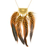 Claire's Gold Polka Dot Feather Long Pendant Necklace - Yellow - Polka Dot Gifts