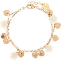 Claire's Rose Gold Floral Charm Bracelet - White - Charm Bracelet Gifts