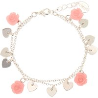 Claire's Silver Rose Heart Charm Bracelet - Pink - Charm Bracelet Gifts