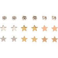 Claire's 9 Pack Mixed Metal Stars & Clear Faux Crystal Stud Earrings - Stars Gifts