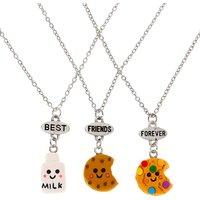 Claire's Best Friends Milk & Cookies Pendant Necklaces - 3 Pack - Necklaces Gifts