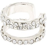 Claire's Silver Crystal Double Row Ear Cuff - Crystal Gifts