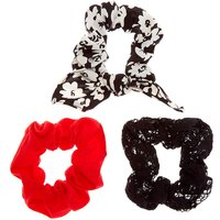 Claire's Small Floral Lace Hair Scrunchies - Black, 3 Pack - Classy Gifts
