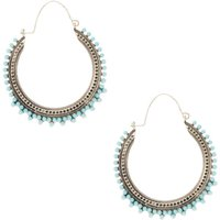 Claire's Silver 45MM Vintage Beaded Hoop Earrings - Turquoise - Vintage Gifts