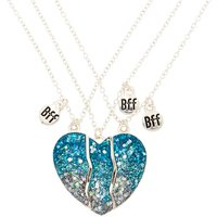 Claire's Best Friends Glitter Heart Pendant Necklaces - Blue, 3 Pack - Jewellery Gifts