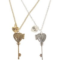 Claire's Mixed Metal Best Friends Heart Key Locket Necklaces - 2 Pack - Necklaces Gifts