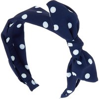 Claire's Polka Dot Knotted Bow Headband - Blue - Polka Dot Gifts