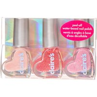 Claire's Glittery Pink Peel-Off Water-Based Nail Polish Trio - Nail Polish Gifts
