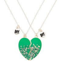 Claire's Best Friends Confetti Heart Necklaces - Turquoise, 2 Pack - Turquoise Gifts