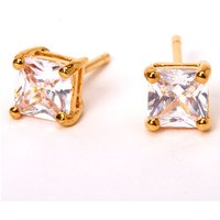 Claire's 18Kt Gold Plated Cubic Zirconia 5MM Square Stud Earrings - Jewellery Gifts