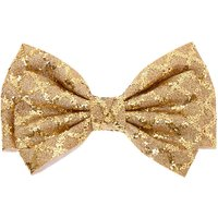 Claire's Christmas Glitter Hair Bow Clip - Gold - Holiday Gifts