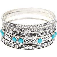 Claire's Silver Vintage Bangle Bracelets - Turquoise, 5 Pack - Turquoise Gifts