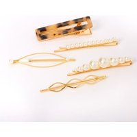 Claire's Gold Pearl Tortoiseshell Hair Pins - 5 Pack - Pearl Gifts