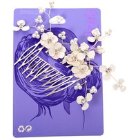 Claire's Floral Crystal & Pearl Hair Comb - White - Floral Gifts