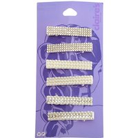 Claire's Silver Rhinestone & Pearl Rectangle Hair Clips - 6 Pack - Pearl Gifts