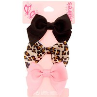 Claire's Club Leopard Print Bow Hair Clips - 3 Pack - Leopard Print Gifts