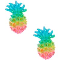 Claire's Silver Pastel Rainbow Pineapple Stud Earrings - Jewellery Gifts