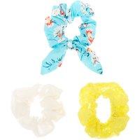 Claire's Small Mint & Yellow Floral Lace Hair Scrunchies - 3 Pack - Mint Gifts