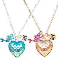 Claire's Best Friends Mermaid Scales Heart Pendant Necklaces - Necklaces Gifts