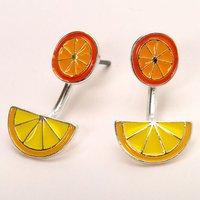 Claire's Lemon Orange Ear Jacket Earrings - Earrings Gifts