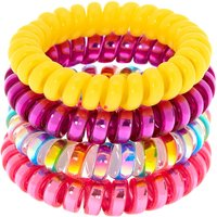 Claire's Rainbow Shine Spiral Hair Bobbles - 4 Pack Bracelet - Ties Gifts