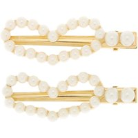 Claire's Gold Pearl Heart Hair Clips - 2 Pack - Hair Gifts