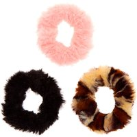 Claire's Club Fuzzy Leopard Hair Scrunchies - 3 Pack - Leopard Print Gifts