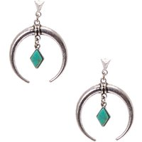 Claire's Burnished Silver Tone Crescent And Turquoise Stone Diamond Drop Earrings - Turquoise Gifts