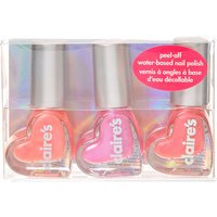 Claire's Pink Heart Water Based Nail Polish Set - 3 Pack - Nail Polish Gifts