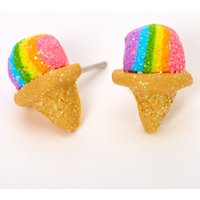 Claire's Silver Rainbow Snow Cone Stud Earrings - Snow Gifts