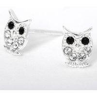 Claire's Sterling Silver Crystal Owl Stud Earrings - Crystal Gifts