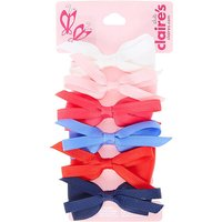 Claire's Kids 6 Pack Large Looped Fabric Bows Hair Clips - Bows Gifts