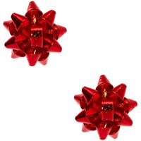 Claire's Christmas Bow Clip On Earrings - Red - Holiday Gifts