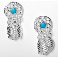 Claire's Silver Dreamcatcher Stud Earrings - Turquoise - Jewellery Gifts