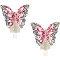 Claire's Silver Glitter Butterfly Clip On Earrings - Pink - Butterfly Gifts