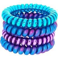 Claire's Mermaid Spiral Hair Bobbles - Purple, 4 Pack Bracelet - Ties Gifts